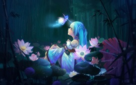 Anime Girl Sitting And Lotus Flowers
