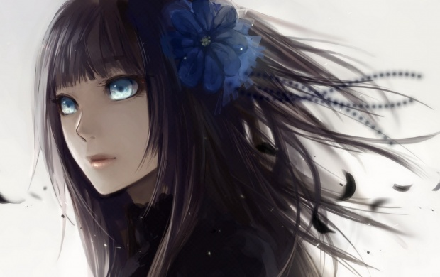 Anime Girl With Black Hair And Blue Eyes (click to view)