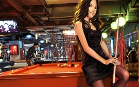 Anime Lady Playing Pool Game