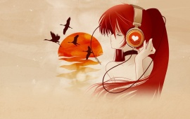 Anime Red Hair Girl With Headphones