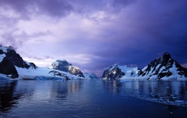 Antarctica Mountains Sunset Ocean Snow