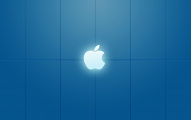 Apple Logo on Blue Background