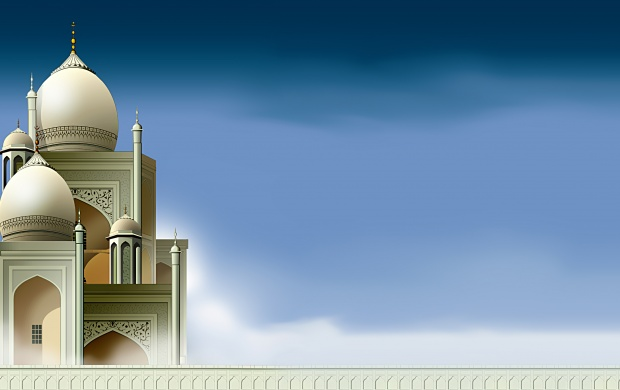 Arabian Style Mosque On Sky Background (click to view)