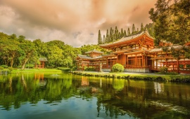 Asian Temple And Lake