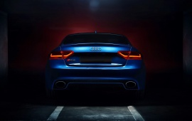 Audi RS5 Coupe Tuning Blue Car Backlights Glow