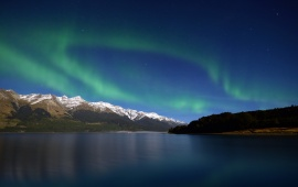 Aurora Borealis Above A Lake