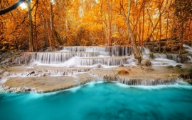 Autumn Forest Trees River Waterfall