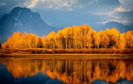 Autumn Lake Trees Mountains
