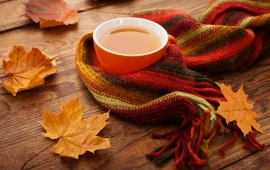 Autumn Leaves Tea Cup Scarf