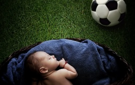 Baby And Football Ball