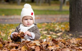 Baby Boy In Park Autumn