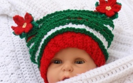 Baby Christmas Poinsetta Hat