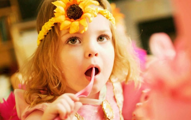 Baby Girl Face With Flower (click to view)