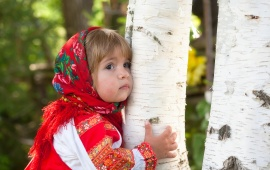 Baby Girl Near Birch Tree In Summer