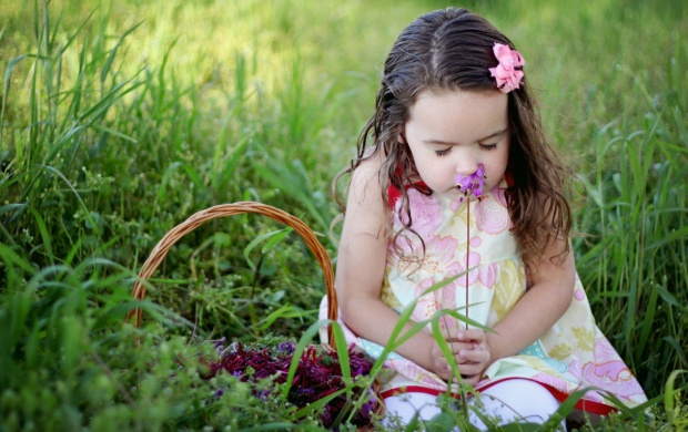 Baby Girl Smelling Flowers (click to view)