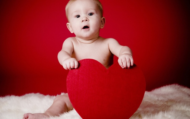 Baby Holding A Red Heart (click to view)
