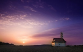 Beach House and Purple Sky