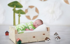 Beautiful Baby Sleeping With Home