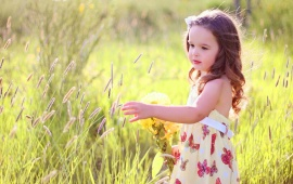 Beautiful Butterfly Girl With Grass