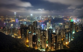 Beautiful Hong Kong Night Sky