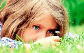 Beautiful Little Girl View Flowers