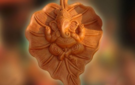 Beautiful Lord Ganesha On Leaf