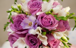 Beautiful Purple White Flowers Bouquet