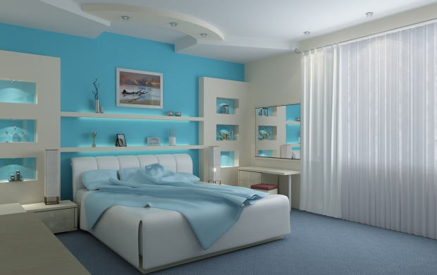 Bedroom Interior Design With Blue (click to view)
