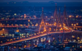 Bhumibol Bridge Evening Thailand