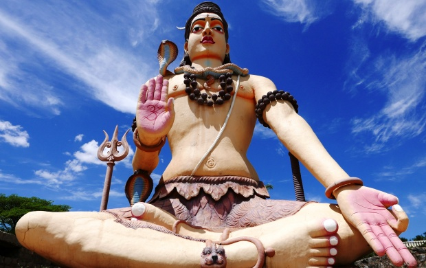 Big Lord Shiva Statue And Blue Sky (click to view)