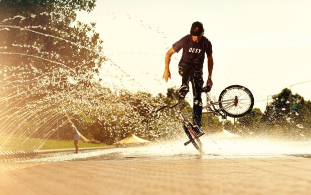 Bikes Man And Water Spray (click to view)