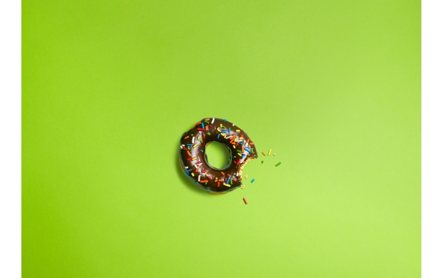 Bitten Donuts On Green Background (click to view)