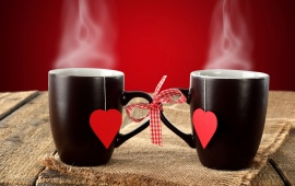 Black Couple Cup Hearts Background