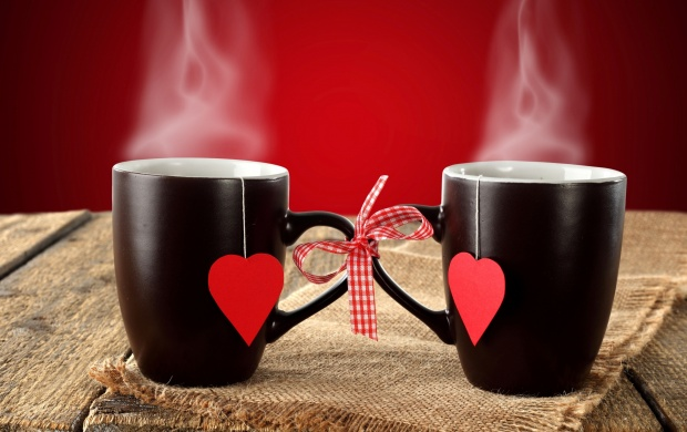 Black Couple Cup Hearts Background (click to view)