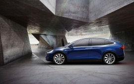 Blue Car Tesla Model X 2017