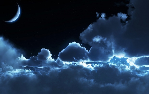 Blue Clouds And The Moon (click to view)