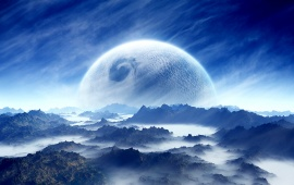 Blue Cloudy Mountain Planet