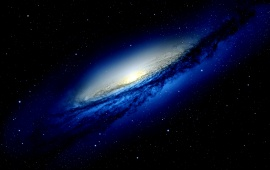Blue Galaxy In Dark Space