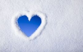 Blue Heart In Snow Winter