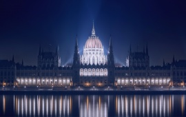 Blue Hungarian Parliament Building