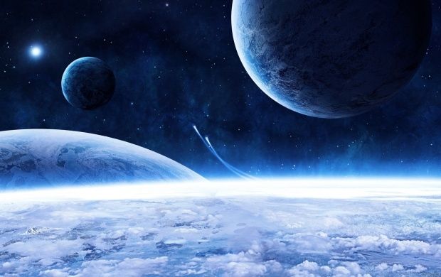 Blue Planets in the Space (click to view)