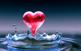 Blue Water And A Pink Love Heart