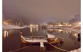 Boat On A Lake in Winter