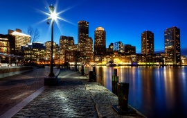 Boston Night Buildings Lights