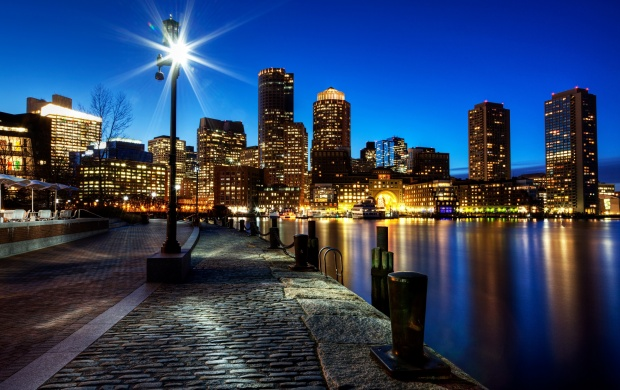 Boston Night Buildings Lights (click to view)