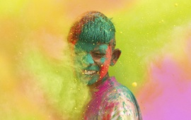 Boy Celebrate Holi Colour