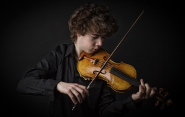 Boy Playing Violin Music