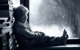 Boy Window Rain