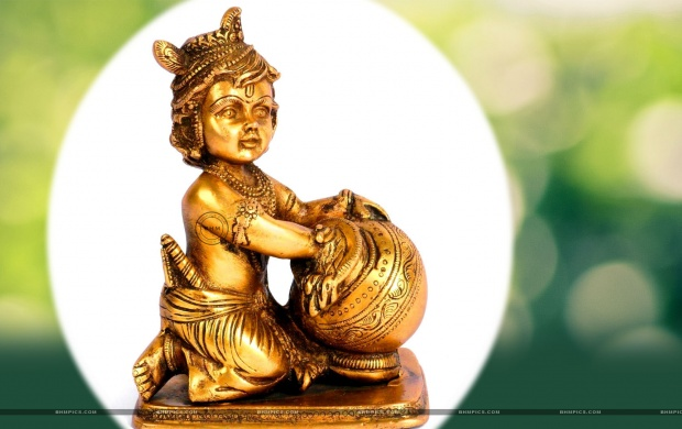 Brass Lord Krishna Statue Green Bokeh (click to view)