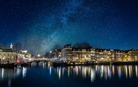 Canals Of Amsterdam Netherlands Stars Space